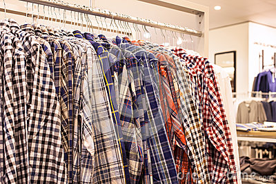 Checkered Shirts on the Store Rack
