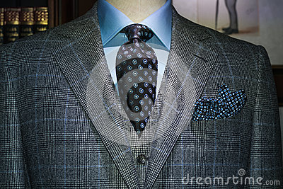 Checkered Suit, Blue Shirt, Tie (Horizontal)