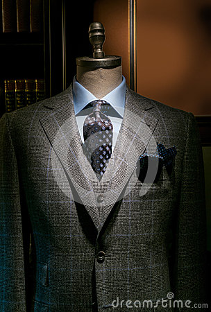 Checkered Suit, Blue Shirt and Tie (Vertical)