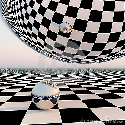 Free Checkered Surreal Horizon Royalty Free Stock Photography - 34128567