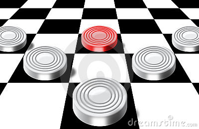 Checkers on a chess-board