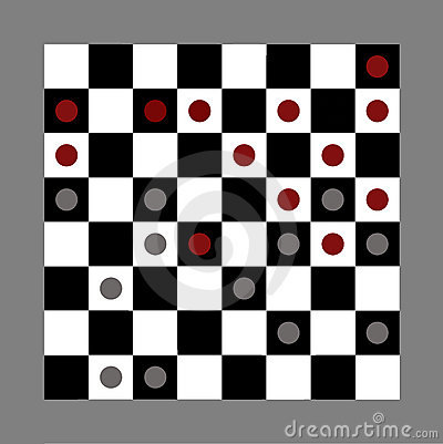 Checkers game in progress