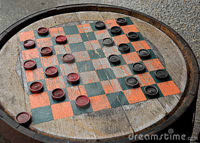 Checkers on a Wood Barrel