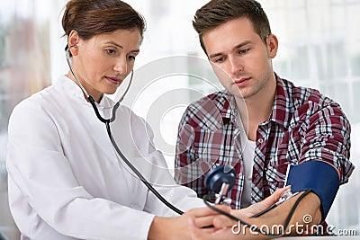 Checking blood pressure