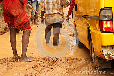 Checking depth of the road hole Editorial Image