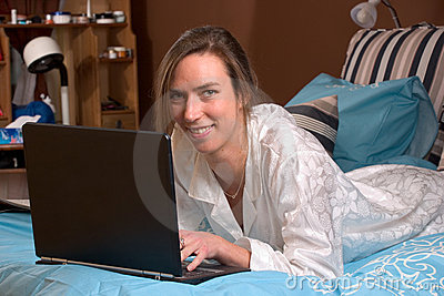 Checking emails in bed