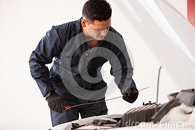 Checking oil levels of a car