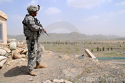 Checking point on the Afghan border Editorial Stock Photo