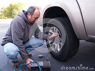 Checking tire pressure
