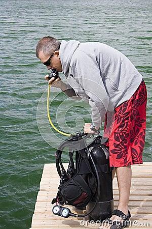 Checking up scuba gear