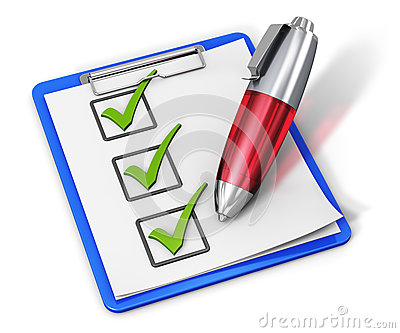 Checklist on clipboard and pen