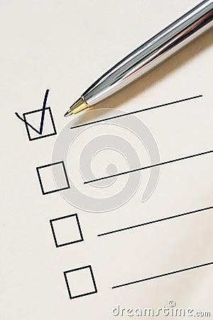 Checklist and pen.