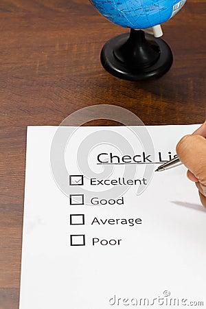 Checklist Quality control.