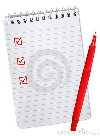 Checklist on Spiral Notebook