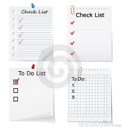 Checklist and To Do list