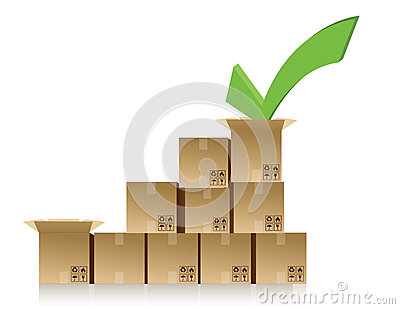 Checkmark over a box graph illustration