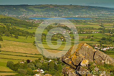 Cheddar reservoir viewed from Crook Peak Somerset
