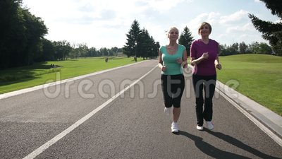 Cheerful adult fit women jogging in the park stock video footage