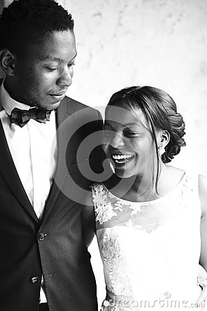Free Cheerful African Descent Bride Groom Together Stock Photography - 92939452