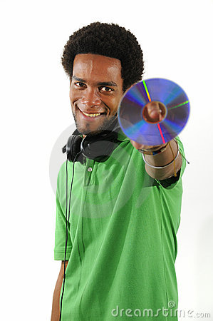 Cheerful african guy holding CD