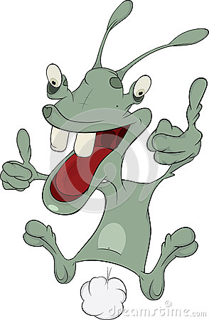 The cheerful alien. Cartoon