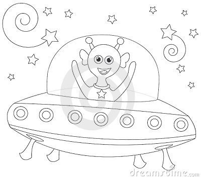 Cheerful alien in spaceship