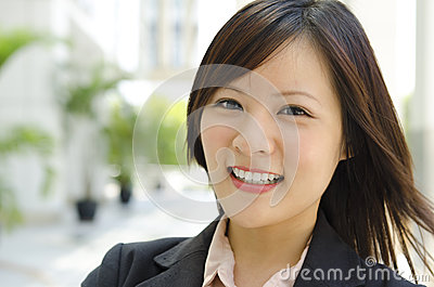 Cheerful Asian female