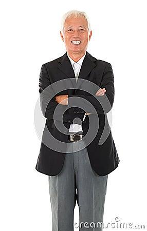 Cheerful Asian senior businessman