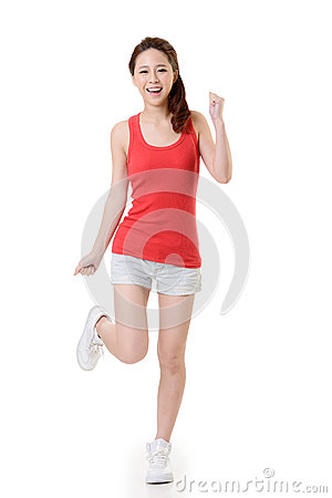 Cheerful Asian sport girl
