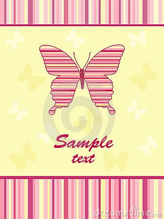Cheerful babies card. Butterfly.