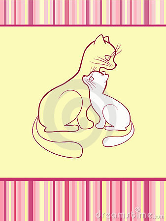 Cheerful babies card. Cats.