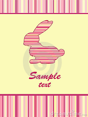 Cheerful babies card. Striped rabbit.