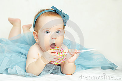 Cheerful baby girl, birthday card