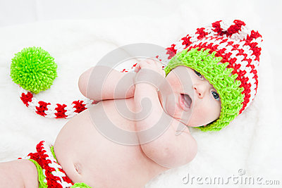 Cheerful Baby Wearing Cute Knit Hat