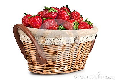 Cheerful basket full with fresh strawberries