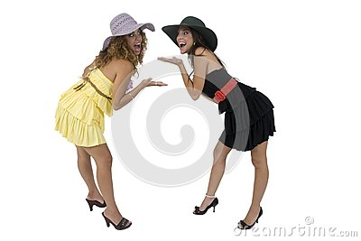 Cheerful bending females