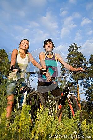 Cheerful bikers