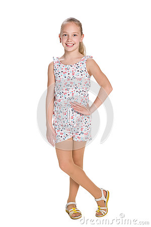 Cheerful blonde girl against the white Stock Photo