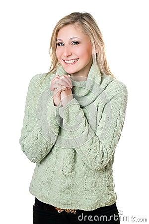 Сheerful blonde in sweater