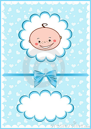 Cheerful blue babies card.