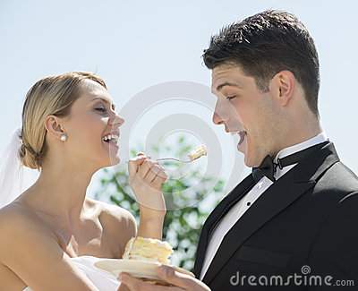 Cheerful Bride Feeding Wedding Cake To Groom