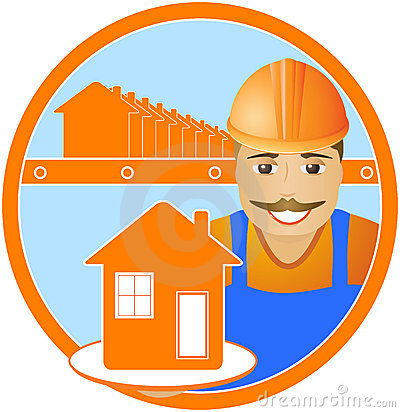 Cheerful builder with house in round