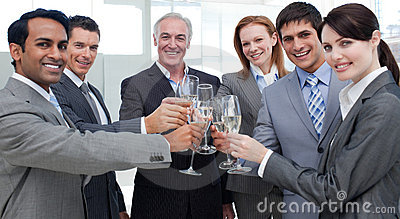 Cheerful business people celebrating a sucess