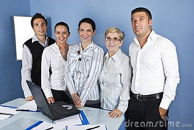 Cheerful business people group  in a office