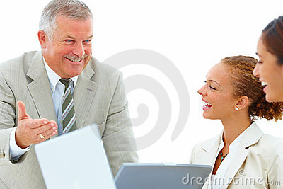 Cheerful business people talking in a meeting