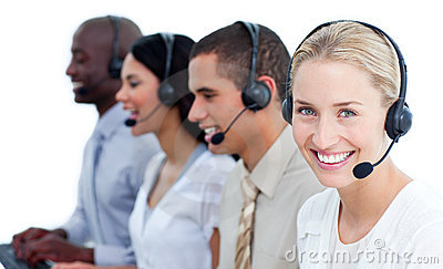 Cheerful business team with headset on