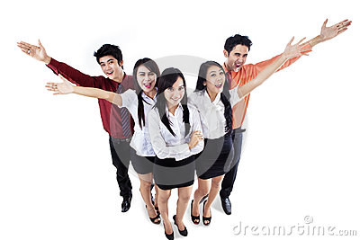 Cheerful business team isolated