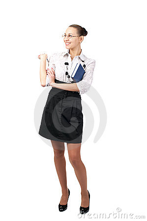 Cheerful business woman dressed