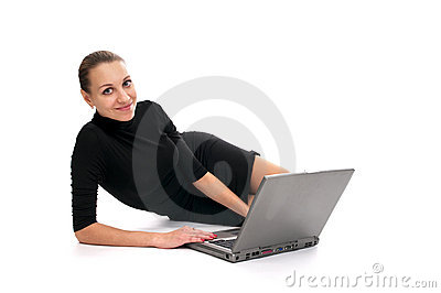 Cheerful business woman with laptop