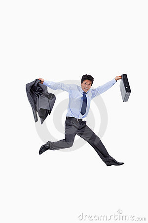 Cheerful businessman jumping
